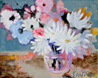 "Small Abstract Floral, Still Life Painting, Light Colors, Pink and Blue, Bouquet ""Spring Bouquet"""