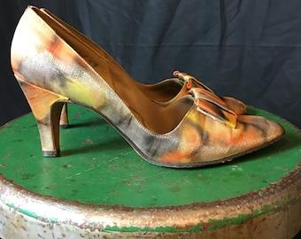 Vintage 1950s Metallic Fall Colors Kitten Heels 7 M F132