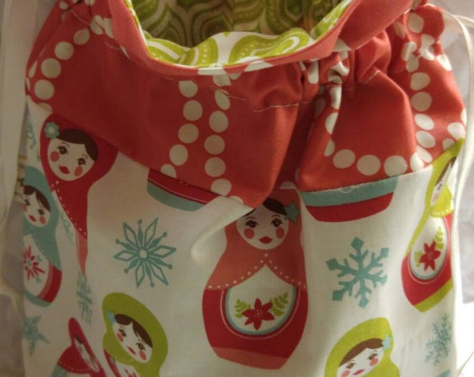 Merry Matryoshka Project Lined Drawstring Bag Ready to Ship