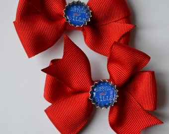 Set of Two Itty Bitty Buffalo Bills Hair Bows with Tiny Bottle Caps NFL Football
