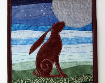 Moon Gazing Hare Quilted Wall Hanging / Mini Art Quilt