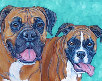 """Custom Pet Portrait Painting on Canvas 12"""" x 16"""" in Acrylic 3/4"""" Deep Ready to Hang Canvas of Two Dogs, Cats, or Other Pets. Boxer Samples."""