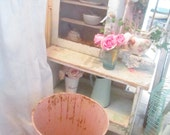 Pink  metal trash can rusty romantic prairie style shabby pink