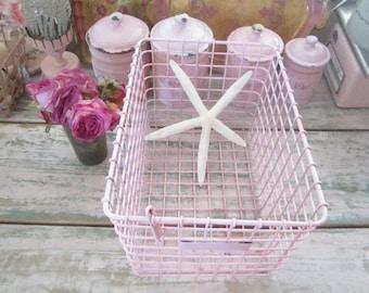 Vintage basket holder chippy pink  shabby chic cottage prairie
