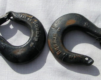 Heavy Duty INDUSTRIAL Salvage HOOKS  -  Crosby GR - 100    --  two available -steampunk coat hanger