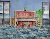 Tropical Piano Painting - Gouache Watercolor Art