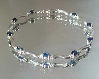 14k White Gold Blue Sapphire & Diamond Tennis Bracelet