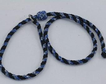 "35"" Braided Paracord slip tab, suppression collar blue camo/black"