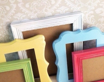 Curvy PICTURE FRAMES - cotton candy colors - shabby chic wedding - w/ Glass N Backing
