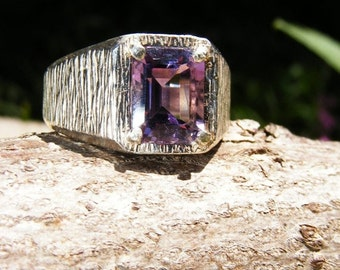 25% OFF Unisex Emerald Cut Amethyst & Sterling Silver Ring