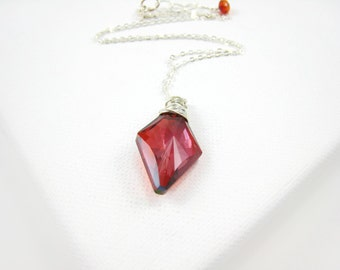 Swarovski Crystal Rhombus Pendant Crystal Rhombus Necklace Geometric Necklace Minimalist Simple Jewelry Modern Red Magma Gift idea For Her