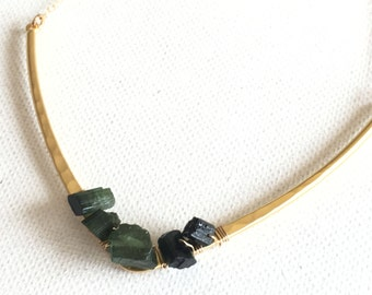 Raw Tourmaline Nugget Necklace Raw Tourmaline Raw Organic Minimalist Style Gold Geometric Jewelry Simple Necklace Fall Gift Idea For Her