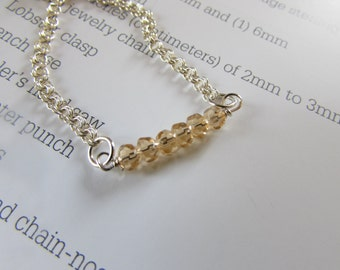 Minimalist Gemstone Citrine Necklace with Sterling Silver Chain