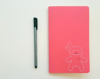 Sweet Ninja Notebook | Custom Hand-Embroidered Moleskine Journal in Coral and Soft Pink | ruled pages, grid pages, blank pages