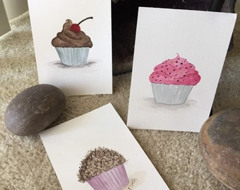 Set of 3 Cupcakes - Original Watercolor Art