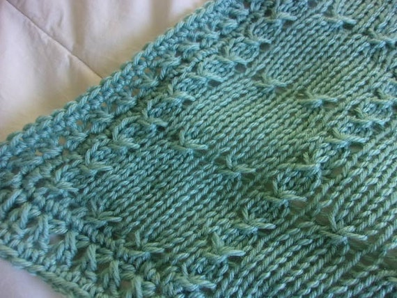 Hand knit baby blanket Elegant pattern with hand crocheted