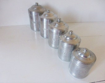 Vintage French 5 Aluminium Canisters Storage Pots