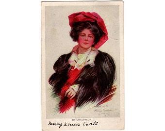 Vintage Rheinthal and Newman Postcard, Pretty Woman, Artist Signed Philip Boileau, My Chauffeur, Fur Stole, Red Hat, 1907 Paper Post Card