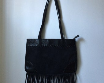 1990s Black Faux/Vegan Suede Fringed Purse