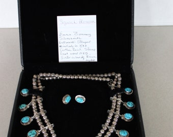 Artist Signed Old Navajo Sterling Silver Turquoise Squash Blossom Necklace and Earring Set