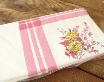 Vintage Tablecloth Mid Century Pink Cotton Tablecloth New Old Stock Table Linens