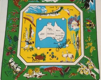 Australia Tablecloth Vintage Australian Card table Cover Travel Souvenir Textile 1970s Sydney Opera House Koala Black Swan Kangaroo Wombat