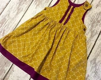 mustard and plum jumper, mustard dress, plum dress, girls fall dress, baby fall dress, mustard and plum dress
