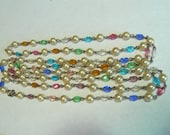 Vintage Extra Long 52 inch Flapper Style Necklace – Faux Pearls with Pastel Colors Glass Faceted Oval Beads (J-16-547)