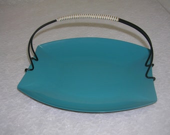 Vintage Turquoise Snack Server Tray Lacquered Plastic