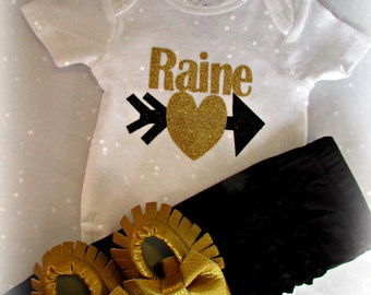 Baby Girls' Clothing Set, Newborn Take Home Outfit, black gold Baby Girl DIVA, Gold Moccasins, Personalized Onesie Gold Headband Black pants
