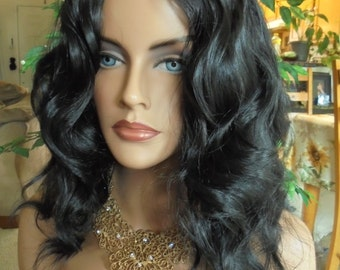 SPRING SALE - Natural Brunett Stylish Wig - Black Wavy with Middle Part Wig - Durable Everyday Wig - Rockabilly - Natural Beauty