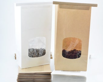 25 - 4 3/4x21/2x9 1/2 -1lb -Kraft brown and White tin-tie bags with window -Coffe Bags -Grease Safe for Packing Food, Candy, Baked Goods