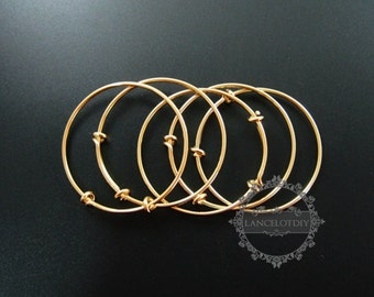 5pcs 50mm diameter brass 14K gold plated simple wiring bracelet for beading DIY jewelry supplies 1900105