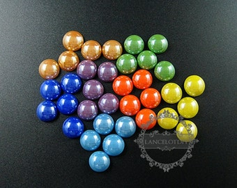 10pcs 11.7mm round champagne,light blue,deep blue,yellow,green,orange,purple ceramic cabochon jewelry findings for ring,earrings 4110125
