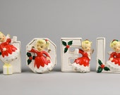 """Vintage NOEL Candle Holders with Pony Tail Angels 3.5"""" High Letters for Kitschmas Display made by MG Japan"""
