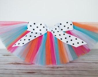 Pink, turquoise, orange, white tutu 'Lily' Newborn tutu baby tutu photo prop birthday tutu 3 months 6 months, 9 months 12 months 18 months
