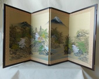 Hand painted Silk Japanese Asian Folding Screen - Divider