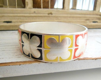 Retro Distressed Brushed Silver Tone Yellow Black Orange Enamel Bangle Bracelet