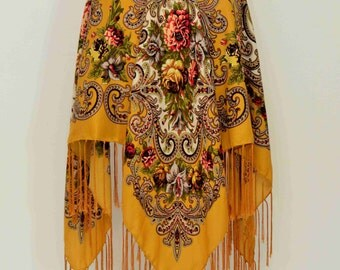 Yellow Gypsy Skirt Cashmere flower mustard skirt with floral print, cut corners