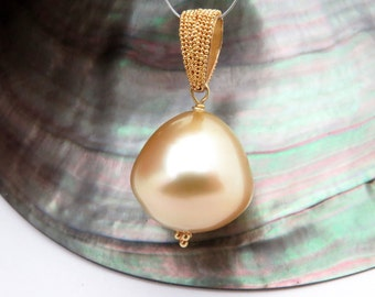 Fienst 22K Granulated Gold AAA South Sea Philippines 14.9x15.2mm Pearl Pendant - Intricate Hand Made Precise Granulation