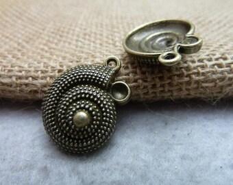 20pcs 20*25mm antique bronze snail animal charms pendant C7512