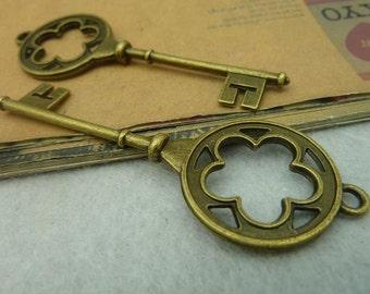 10pcs 26*76mm antique bronze key charms pendant C3887