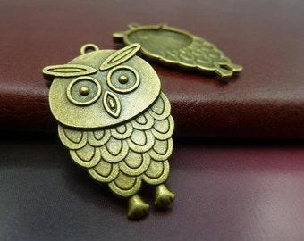 20pcs 20*35mm antique bronze owl charms pendant C5641