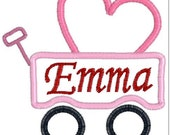 appliqué heart wagon, applique embroidery design, appliqué heart, applique wagon, instant download, digitized file, embroidery file