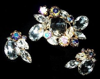 Crystal Rhinestone Brooch Earring Demi Set Aurora Borealis High End Gold Metal Vintage