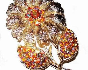 "Fall Flower Leaf Brooch Pin Orange Aurora Borealis Rhinestones Gold Metal 2.5"" Vintage"