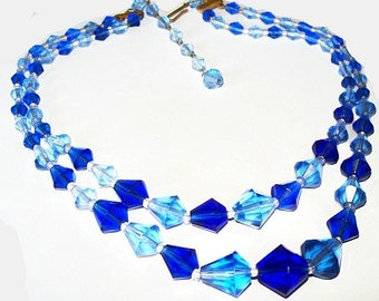 """Blue Beaded Necklace Signed W. Germany Bicone Glass Beads Double Strand Hook Clasp 18"""" Vintage 1960s"""