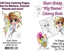 INSTANT DOWNLOAD  Coloring Book Wee Winged Magical Fairies 10 pages Big Eye Big Head Dolls My Bestie By Sherri Baldy