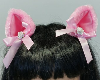 Pink Cat Ears-Lolita Cat Ears-Neko-Cosplay-Halloween-Cat Costume-Cat Ears