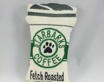 Dog Toy Coffee Squeaky Toy Stuffed Plush Starbarks like Starbucks Toy